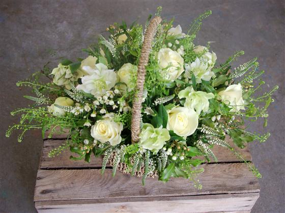 Walter Smith Flowers - Beautiful Green and White Basket